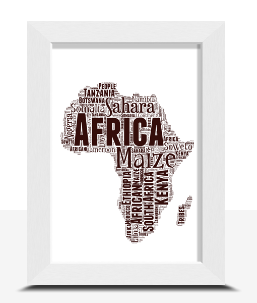 Personalised Africa Map Word Art Print Travel