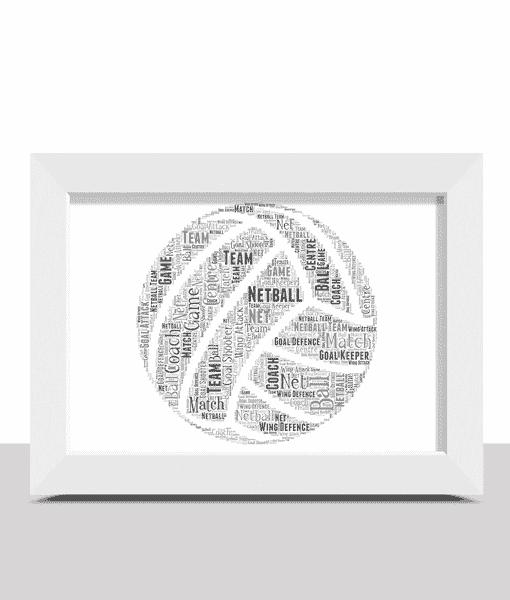 Personalised Netball Word Art – Netball Player Gift Sport Gifts