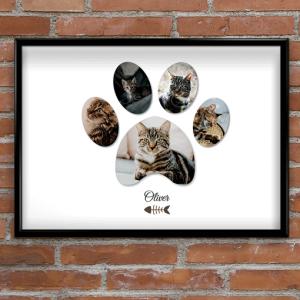 Personalised Pet Cat Paw Photo Print Animal Prints
