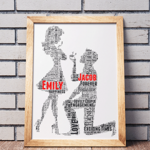 Personalised Engagement Gift Word Art Engagement Gifts