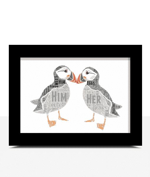 Puffins Word Art Print Animal Prints