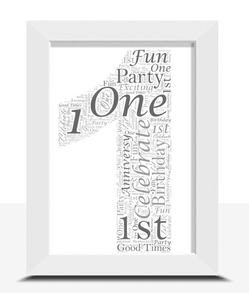 1st Birthday – First Anniversary Word Art Anniversary Gifts