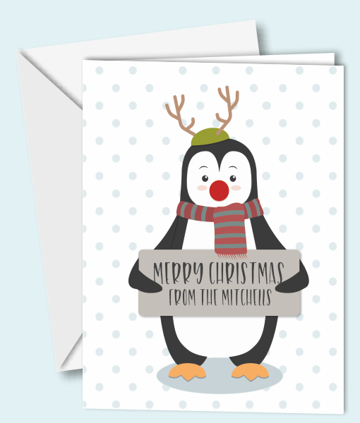 Personalised Penguin Christmas Cards Christmas