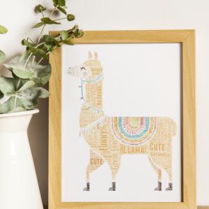 Personalised Llama Word Art Print Animal Prints