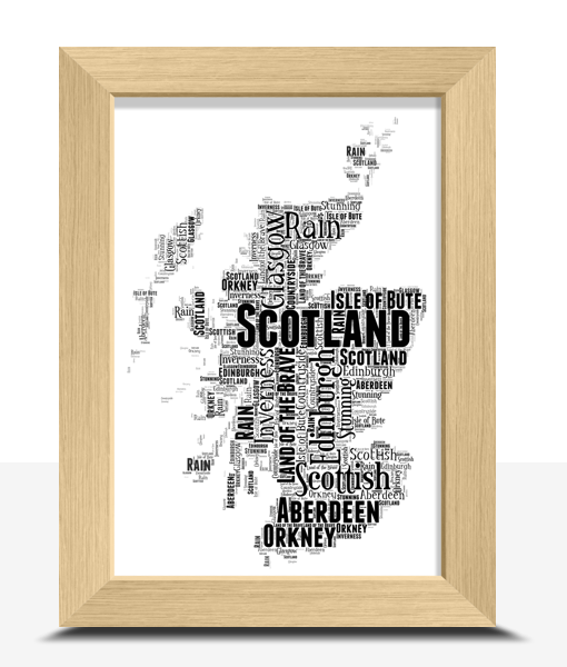Personalised Scotland Word Art Map Travel