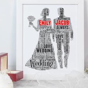 Personalised Wedding Couple Gift Word Art Wedding Gifts