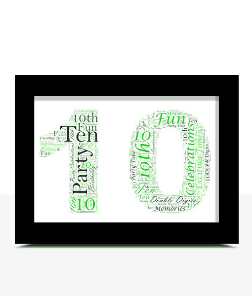 10th Birthday – Anniversary Word Art Gift Anniversary Gifts