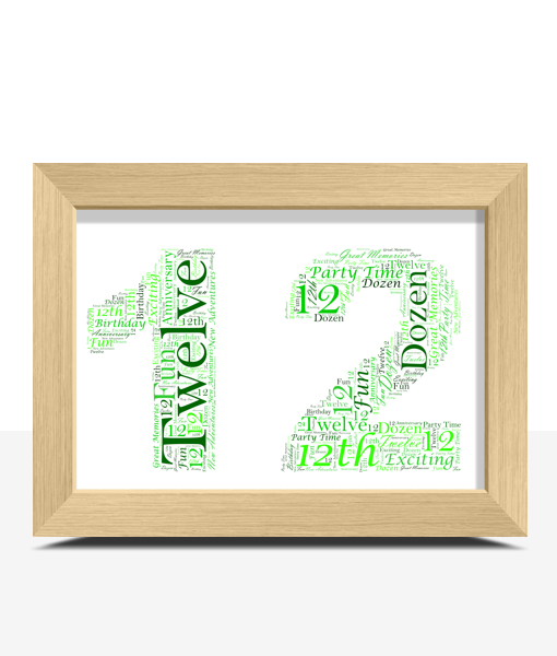 12th Birthday Word Art Gift Anniversary Gifts