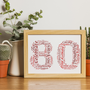 Personalised 80th Birthday Word Art Gift Birthday Gifts