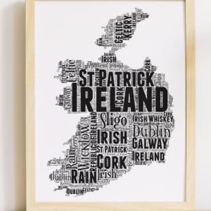 Personalised Republic Of Ireland Word Art Map Travel