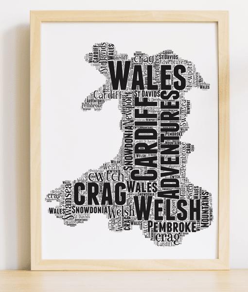 Personalised Wales Word Art Map Travel