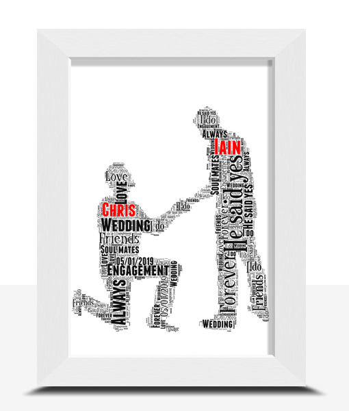 Gay Male Personalised Word Art Engagement Gift Engagement Gifts