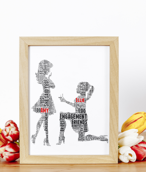 Gay Female Personalised Word Art Engagement Gift Engagement Gifts