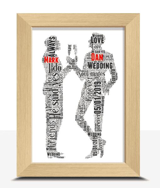 Personalised Gay Male Wedding Couple Word Art Gift Wedding Gifts