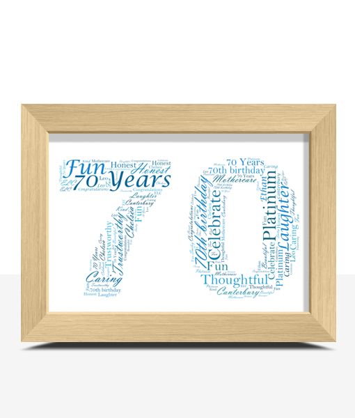 Personalised 70th Birthday Word Art Gift Birthday Gifts