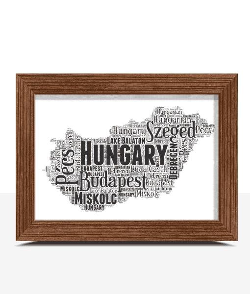 Personalised Hungary Word Art Map Travel