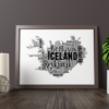 Personalised Iceland Word Art Map Travel