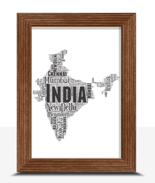 Personalised India Word Art Map Travel