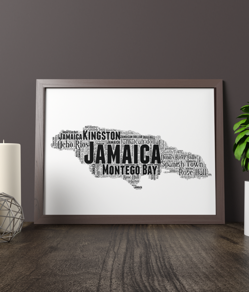 Personalised Jamaica Word Art Map Travel