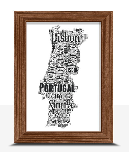 Personalised Portugal Word Art Map Travel