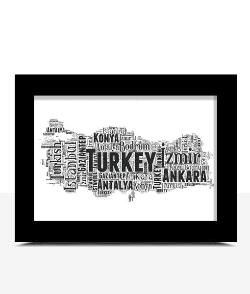Personalised Turkey Word Art Map Travel