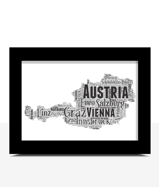 Personalised Austria Word Art Map Travel