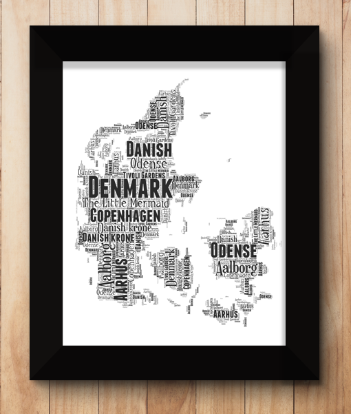 Personalised Denmark Word Art Map Travel