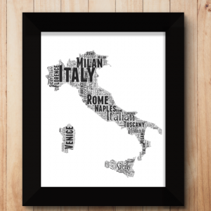 Personalised Italy Word Art Map Travel