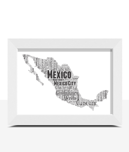 Personalised Mexico Word Art Map Travel
