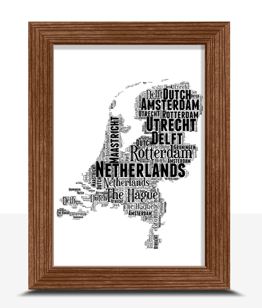Personalised Netherlands Word Art Map Travel