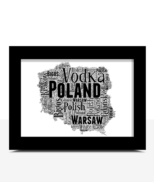 Personalised Poland Word Art Map Travel