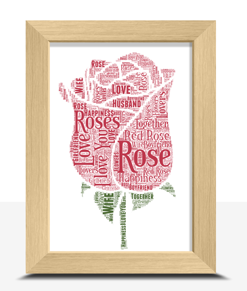 Personalised Rose Word Art Print Engagement Gifts