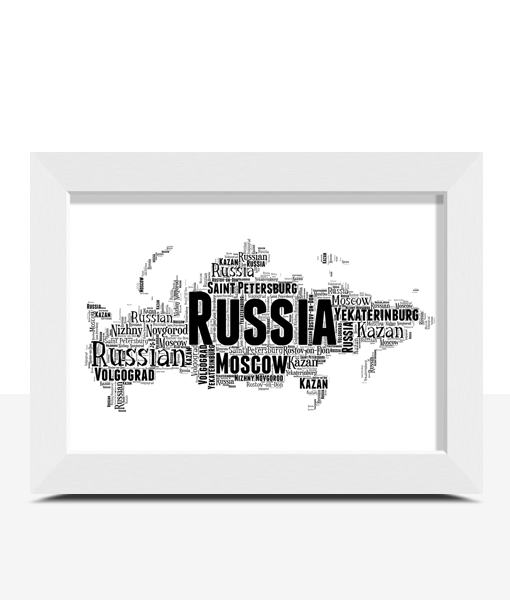 Personalised Russia Word Art Map Travel