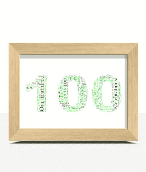 100th Birthday – Anniversary Word Art Gift Anniversary Gifts