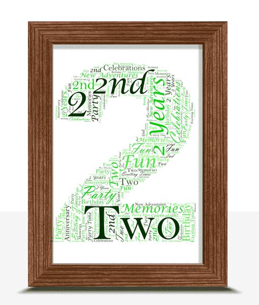 2nd Birthday – Anniversary Word Art Gift Anniversary Gifts