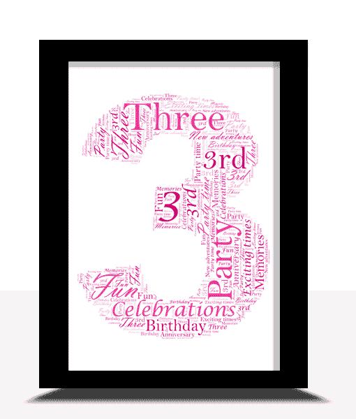 3rd Birthday – Anniversary Word Art Gift Anniversary Gifts