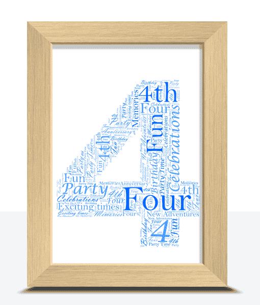 4th Birthday – Anniversary Word Art Gift Anniversary Gifts
