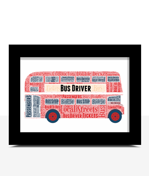 Double Decker Bus Word Art – Bus Driver Gift Gifts For Children