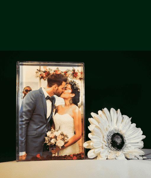 Heart Confetti Photo Block Anniversary Gifts