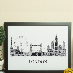 Personalised London Skyline Word Art Travel