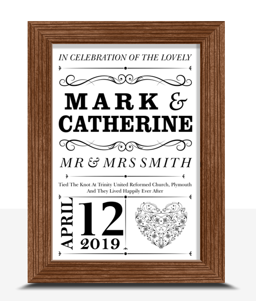 Personalised Wedding Couple Print Gift Gifts For Couples