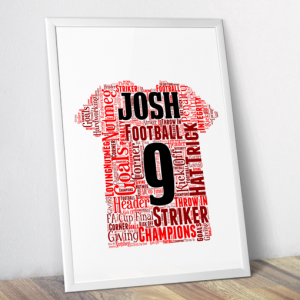 Personalised Football Shirt Word Art Print Fathers Day Gifts