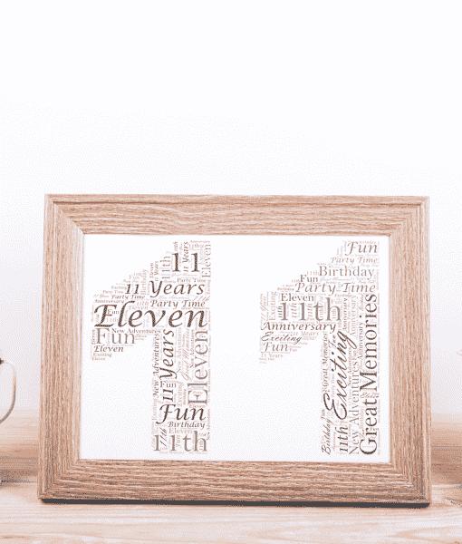 11th Birthday – Anniversary Word Art Gift Anniversary Gifts