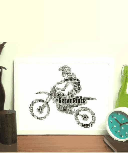 Motocross Bike Word Art Sport