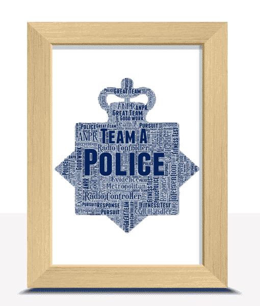 Personalised Police Crest Word Art Print