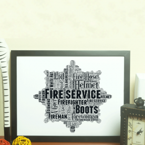 Fire Service Crest Word Art Print
