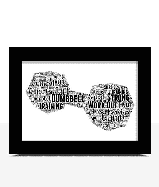 Dumbbell Word Art Print – Weightlifter Gift Sport