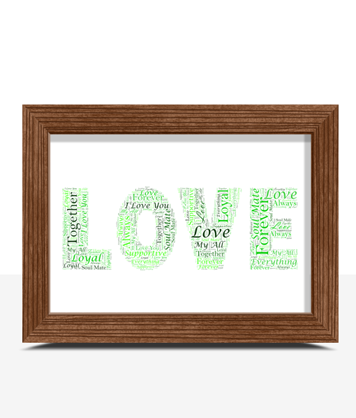 Personalised LOVE Word Art Gift Anniversary Gifts