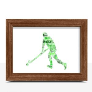 Male Hockey Player Word Art Sport