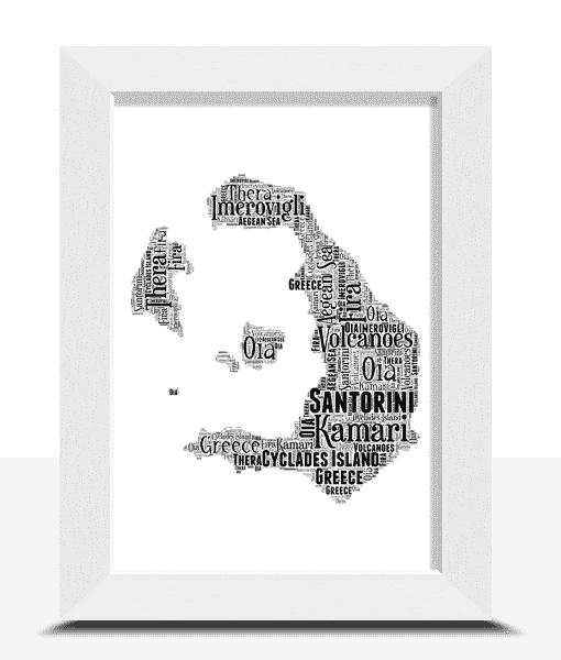 Personalised Santorini Word Art Map Travel